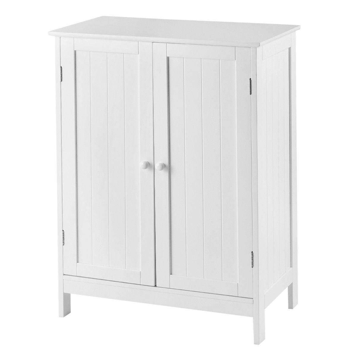 Bathroom Floor Storage Double Door Cupboard Cabinet
