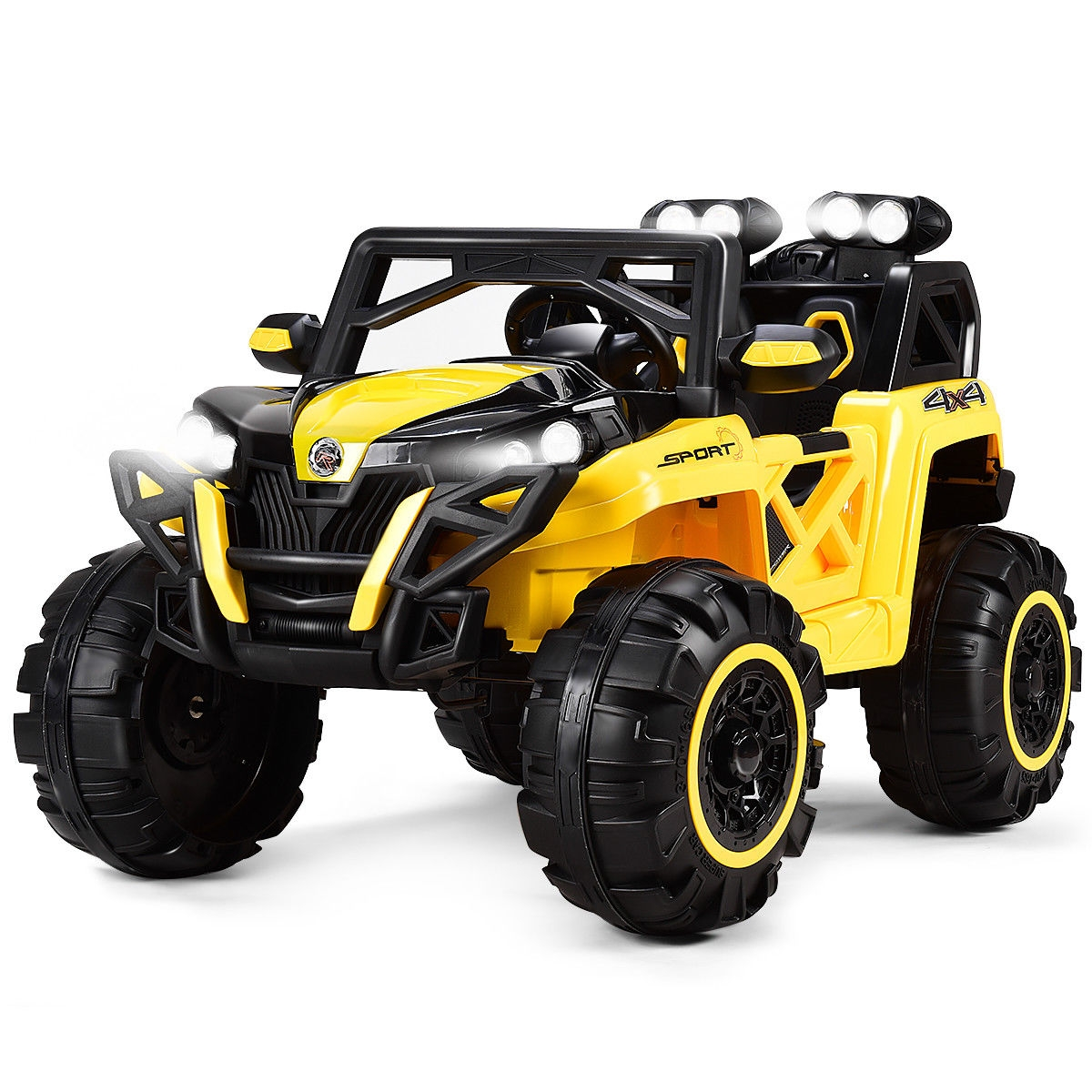 12V Kids Riding Racing Remote Control Truck with LED Light-Yellow