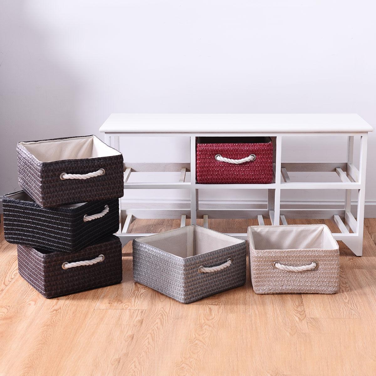 Wooden Basket Storage Chest with 6 Drawer Baskets