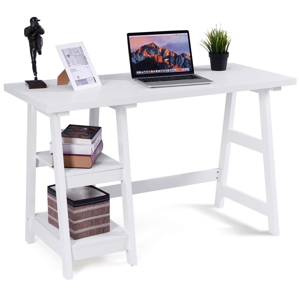 Modern Trestle Computer Desk Writing Laptop Table W/2 Open Tiers Shelves White-White