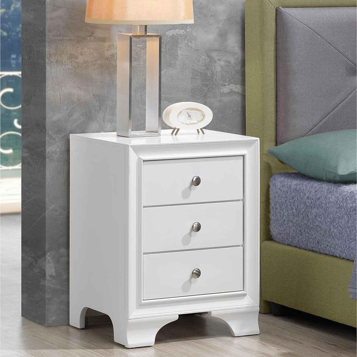 3 Drawers Nightstand End Beside Sofa Side Table-White