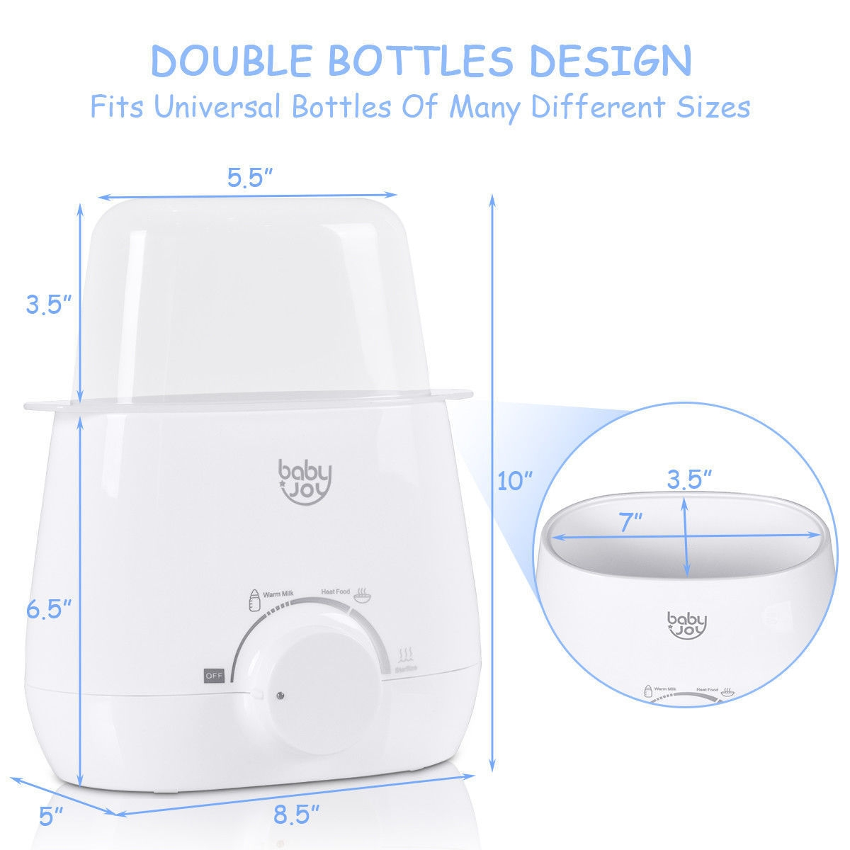 Portable Baby Bottle Warmer Steam Sterilizer