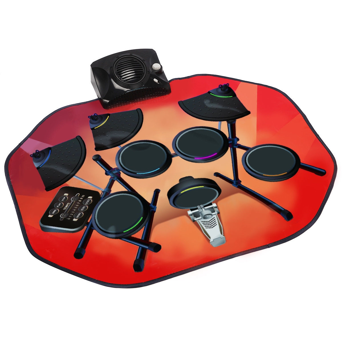 Electronic Glowing Play Drum Mats Kit Set with MP3 Cable