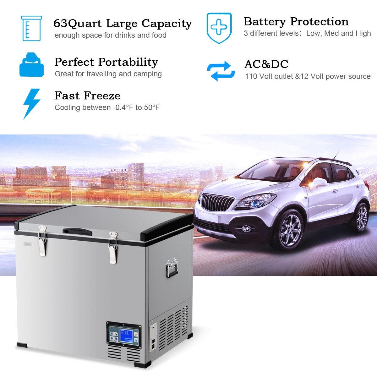 63-Quart Portable Electric Car Cooler Refrigerator Freezer