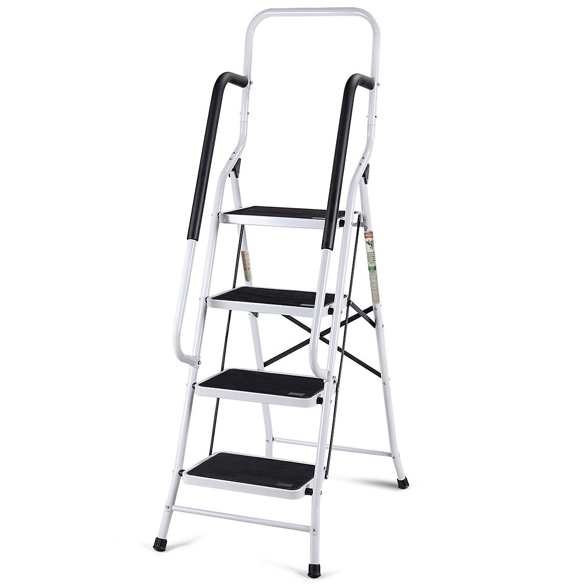 2 in 1 Non-slip 4 Step Folding Stool Ladder with Handrails