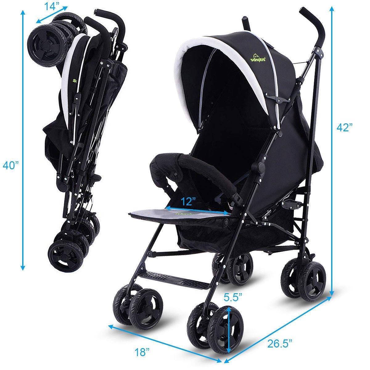 Lightweight Foldable Kids Pushchair Baby Stroller-Black
