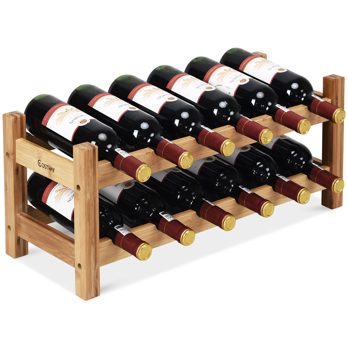 2-Tier 12 Bottles Bamboo Storage Shelf  Wine Rack