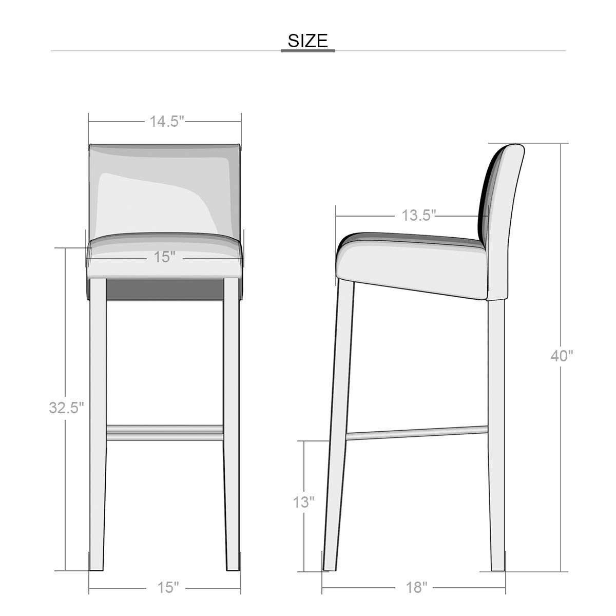 Set of 2 Padded Seat Bar Stool Chair with Solid Wood Legs-Black