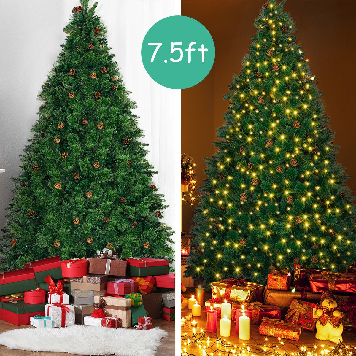 7.5ft Pre-lit Artificial 750 LED Hinged Lights Christmas Tree