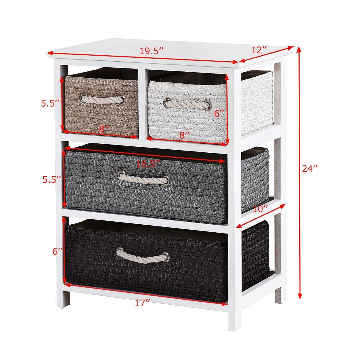 Storage Drawer Nightstand Woven Basket Cabinet Bedside Table