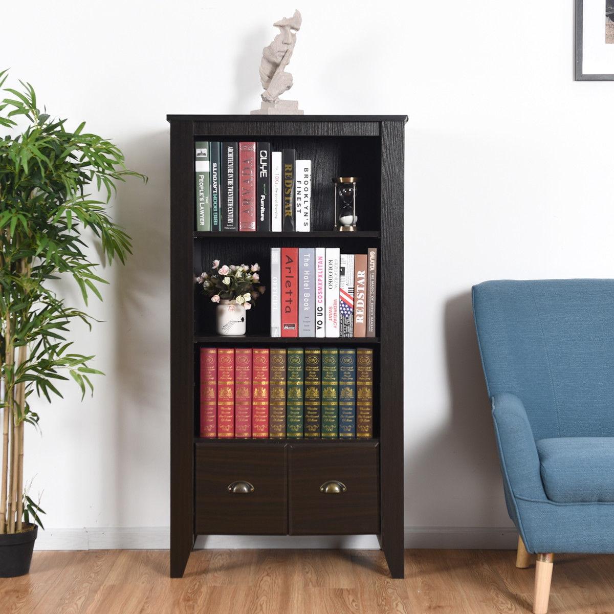 3 Shelf Adjustable Antique Organizer Bookcase with 2 Drawers