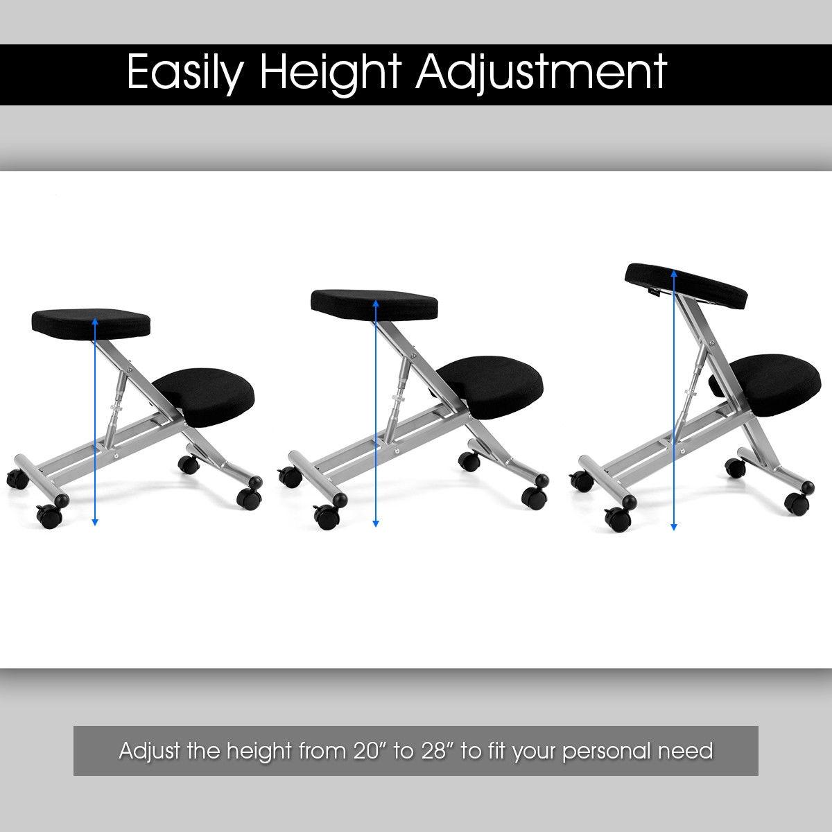 Adjustable Height Ergonomic Kneeling Chair Rolling Padded Seat