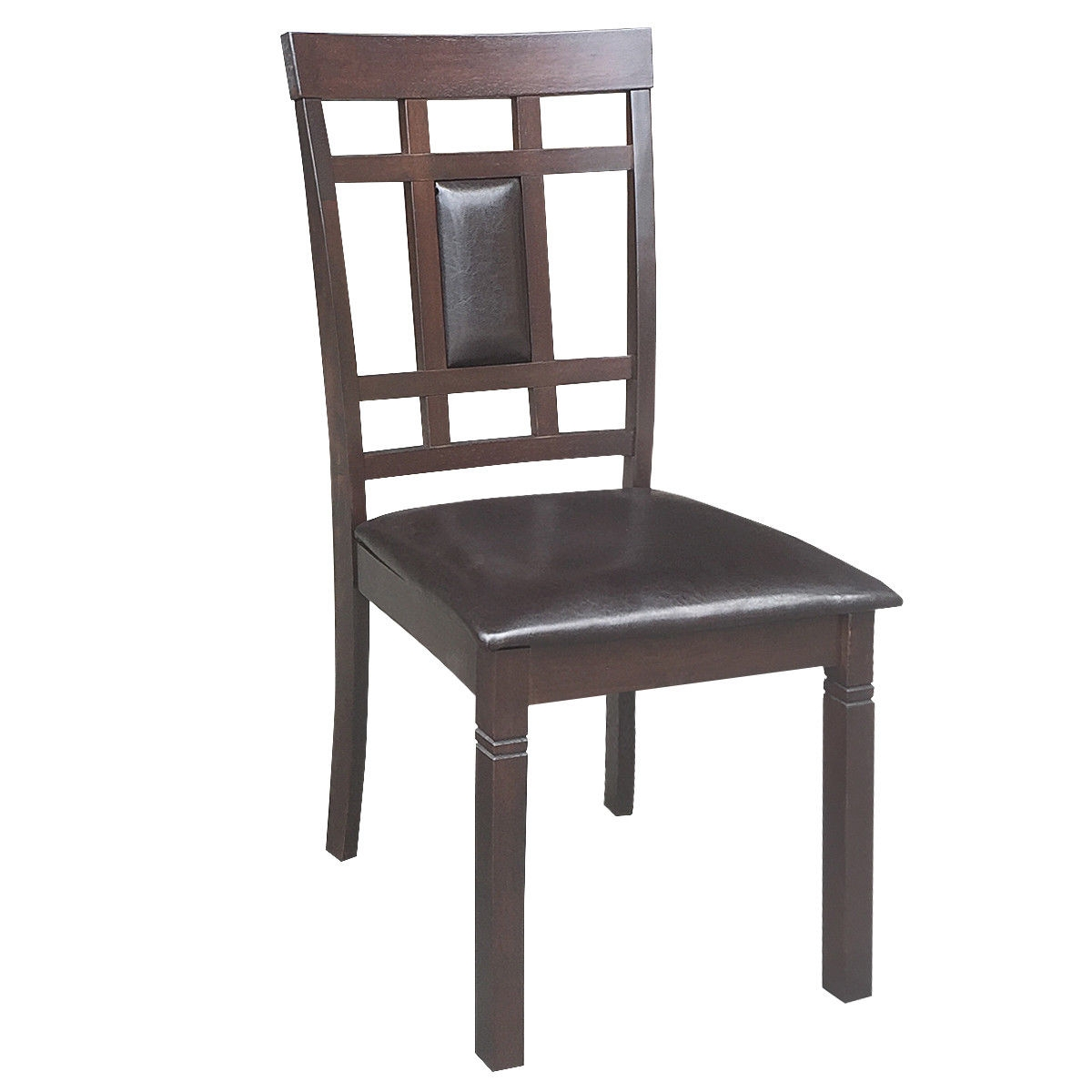 Set of 2 PU Leather Upholstered Dining Chairs High Back Armless Furniture-Coffee