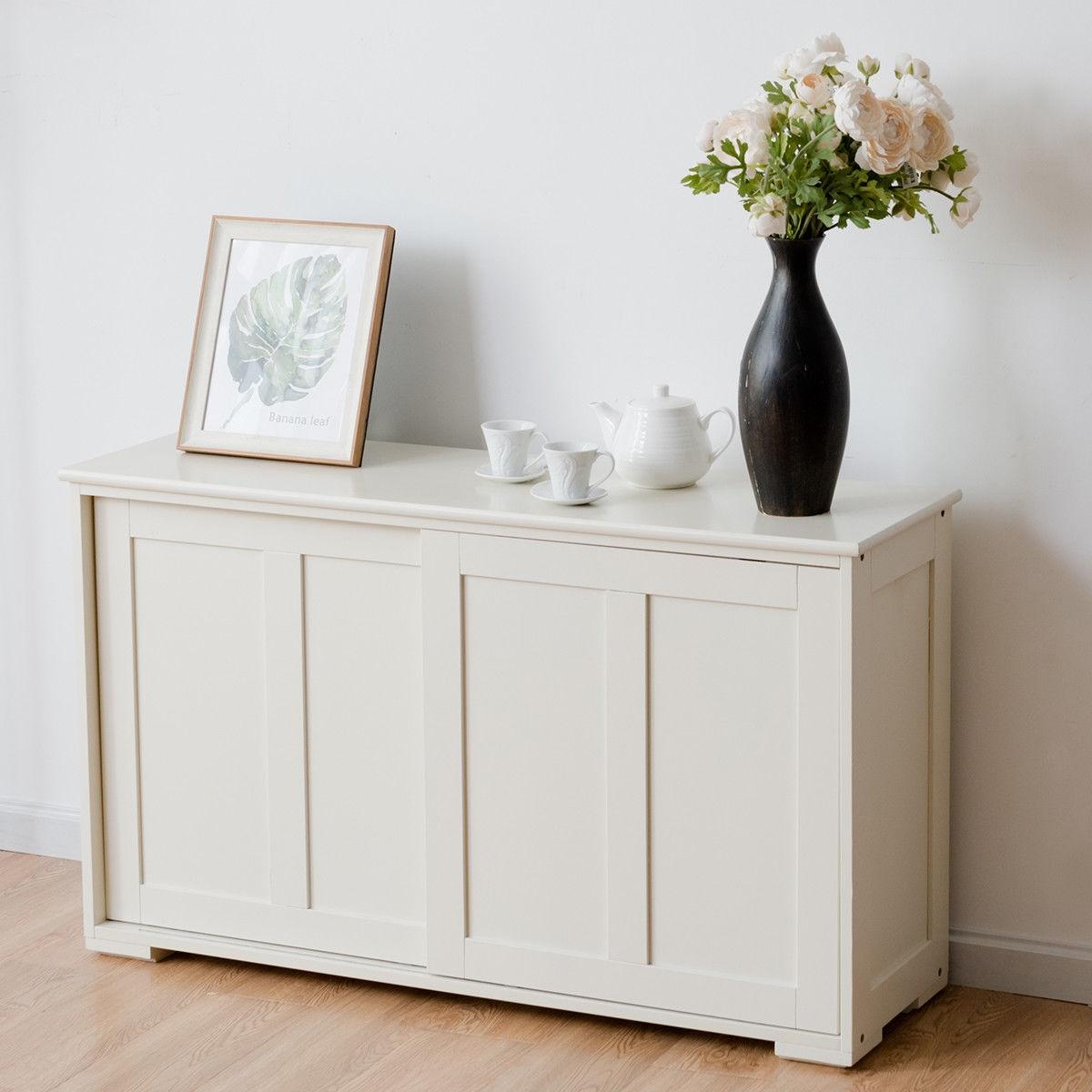 Kitchen Storage Cabinet with Wood Sliding Door