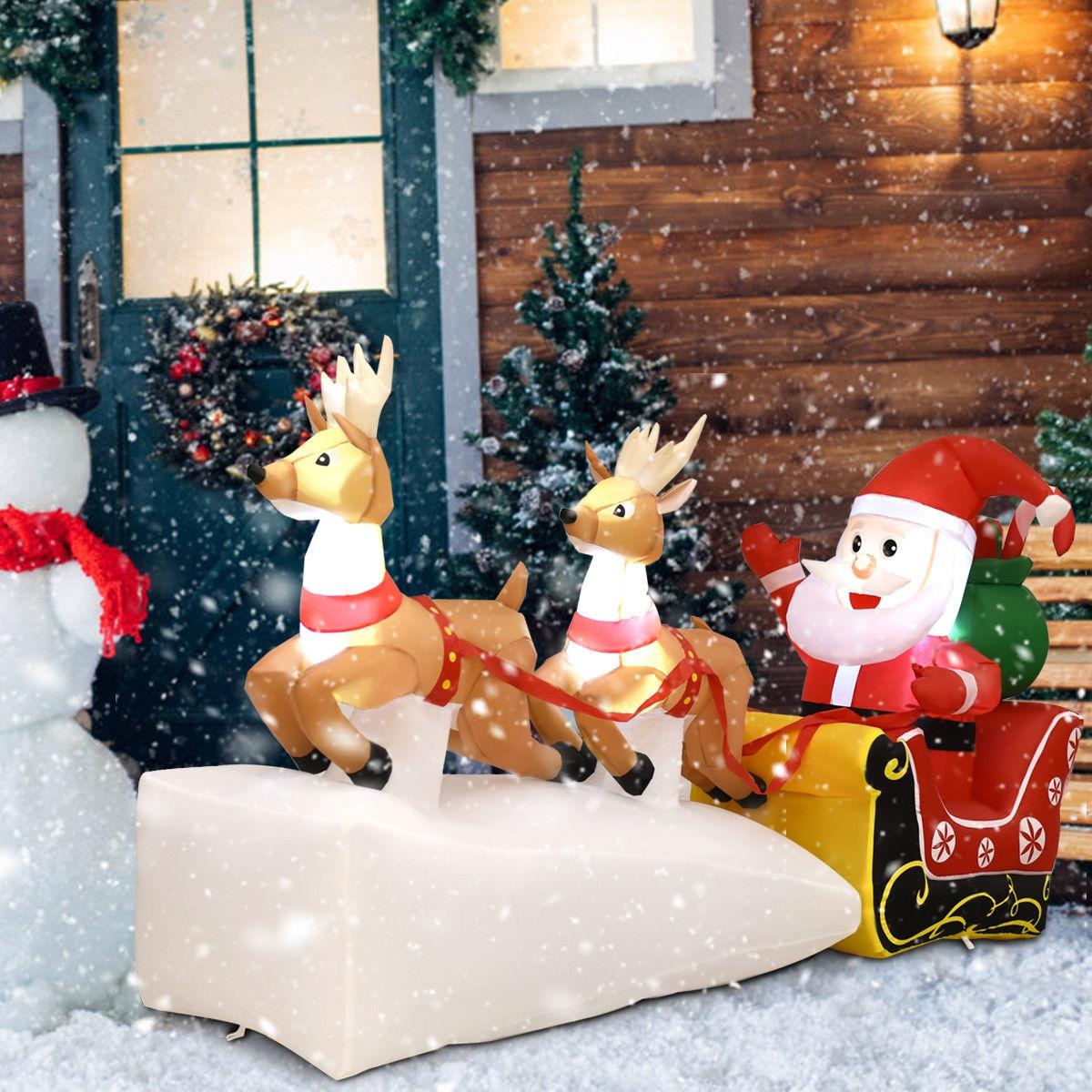 7' Outdoor Christmas Inflatable Santa Claus on Sleigh 2 Reindeers
