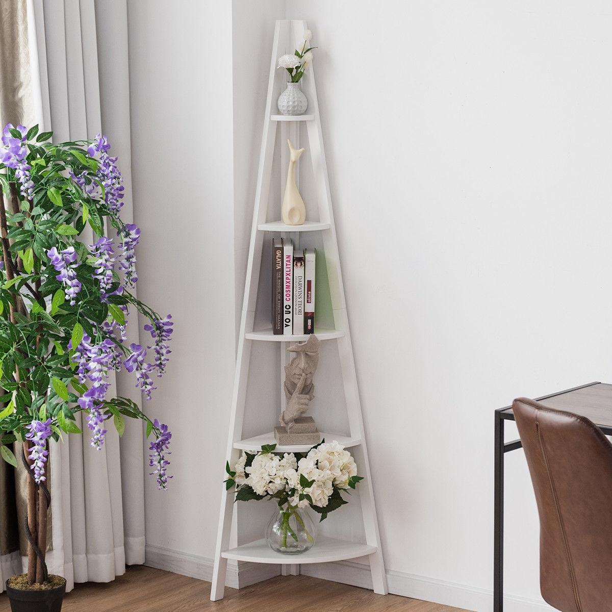 5 Tier Floor Corner Stand Ladder Shelves Bookshelf-White