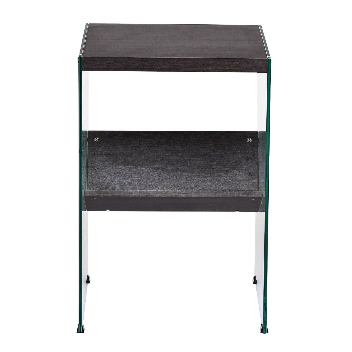 Modern 2-Tier Soho Tempered Glass Accent Table with Wood Top