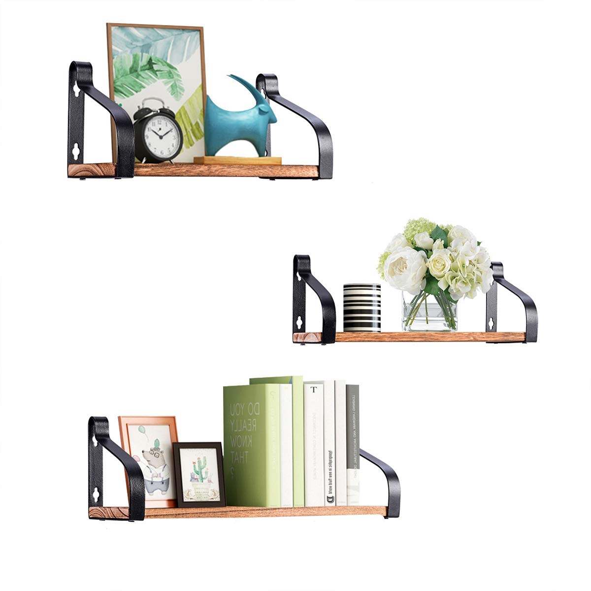 Set of 3 Wall Mount Floating Shelves Rustic Wood Storage Shelves