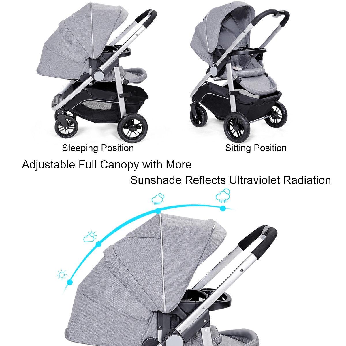 Aluminum Lightweight Foldable Baby Stroller-Gray