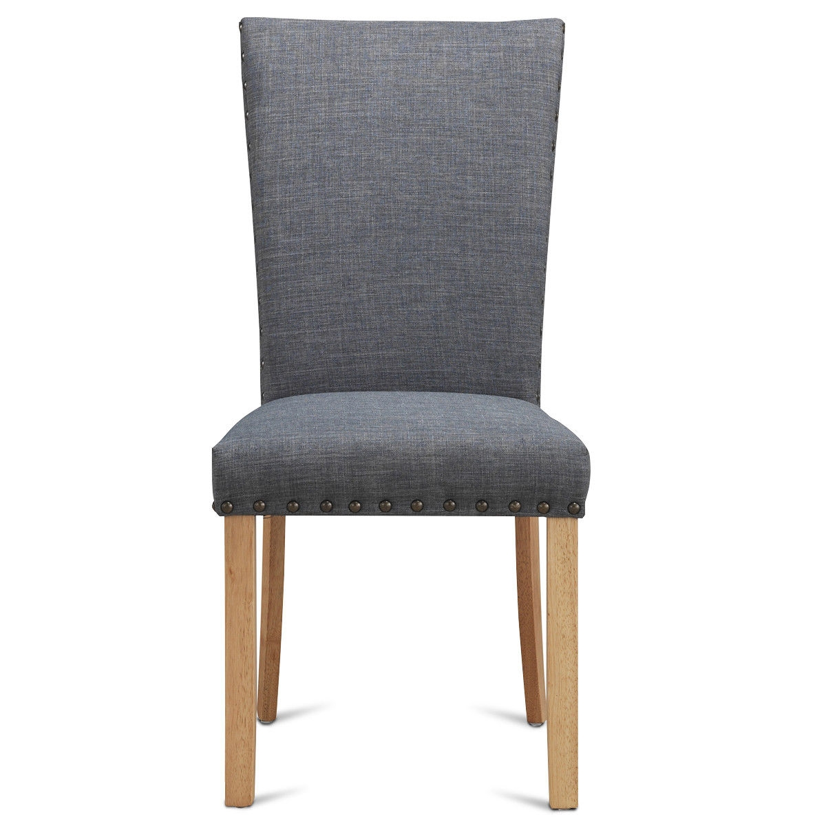 Set of 2 Armless Fabric Upholstered Nailhead Dining Chairs-Gray