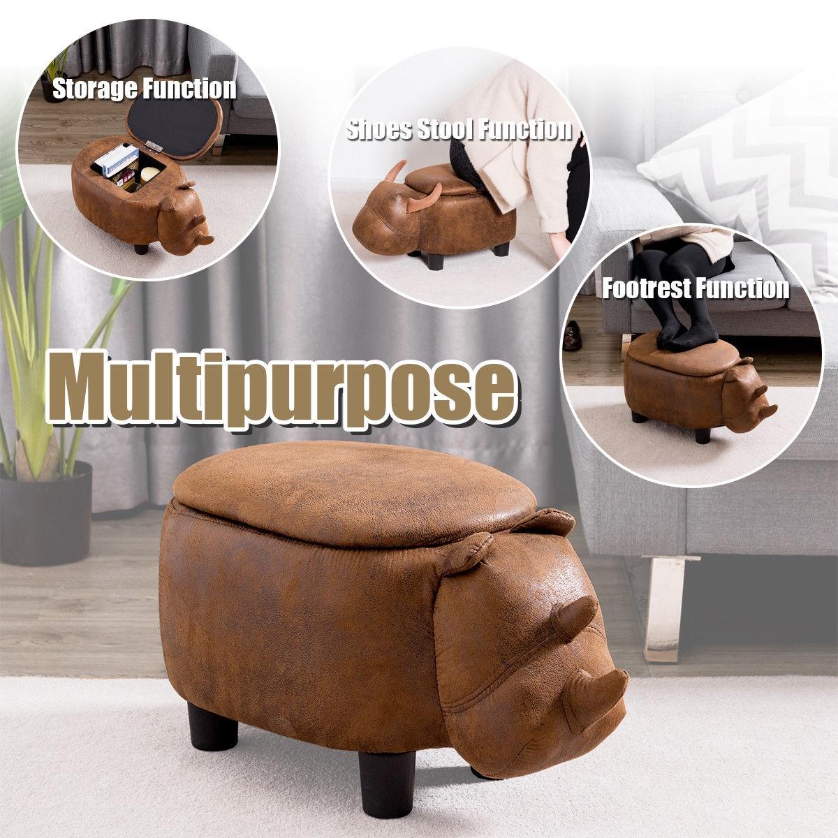 Brown Rhinocer Upholstered Ride-on Storage Ottoman