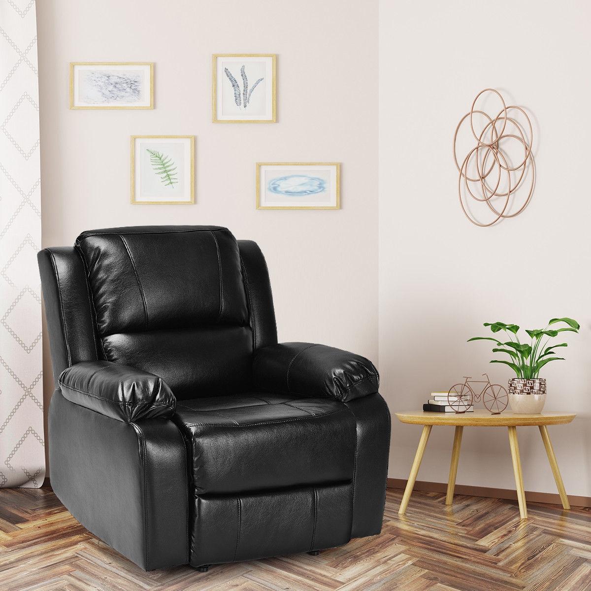 Manual Recliner PU Leather Padded Home Lounge Sofa-Black