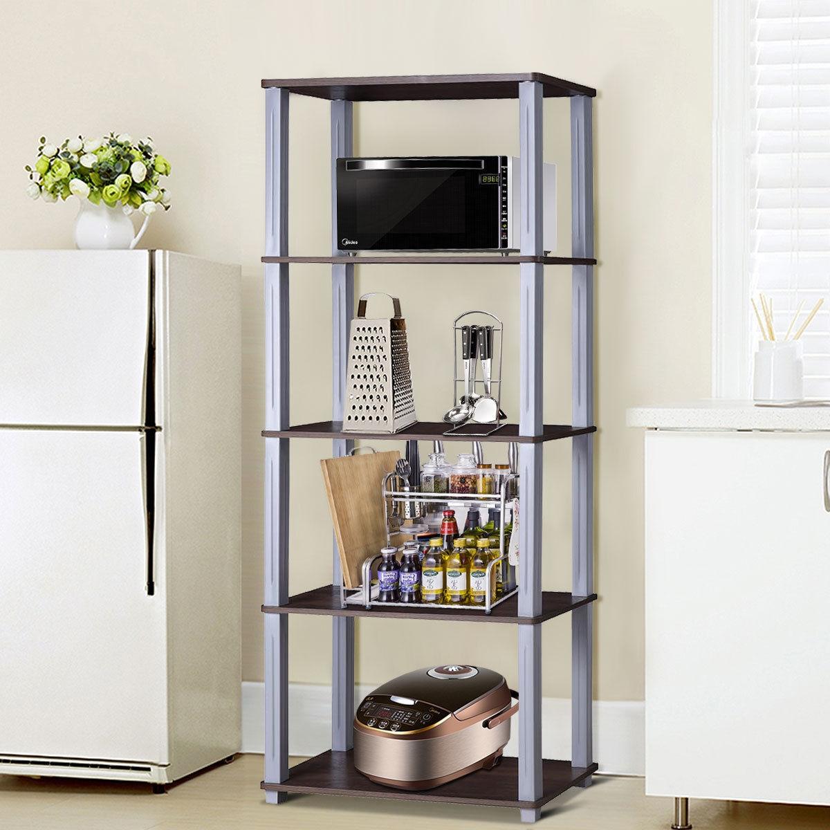 5-Tier Multi-Functional Storage Shelves Rack Display Bookcase-Coffee