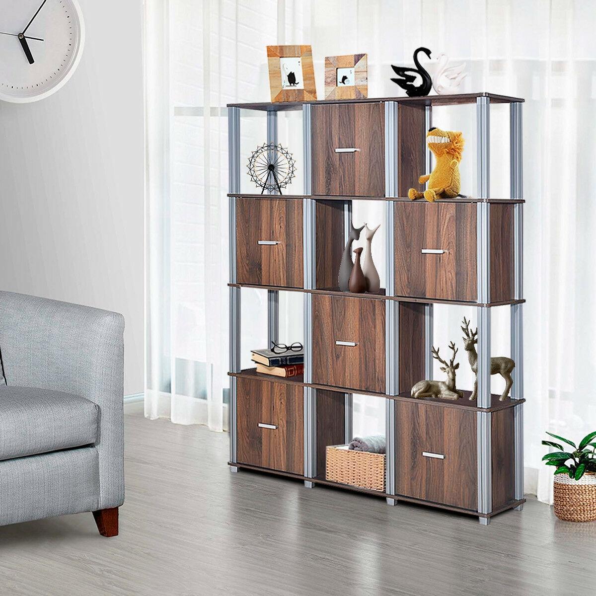 4-Tier Storage Shelf 1 Display Bookcase with 6 Doors