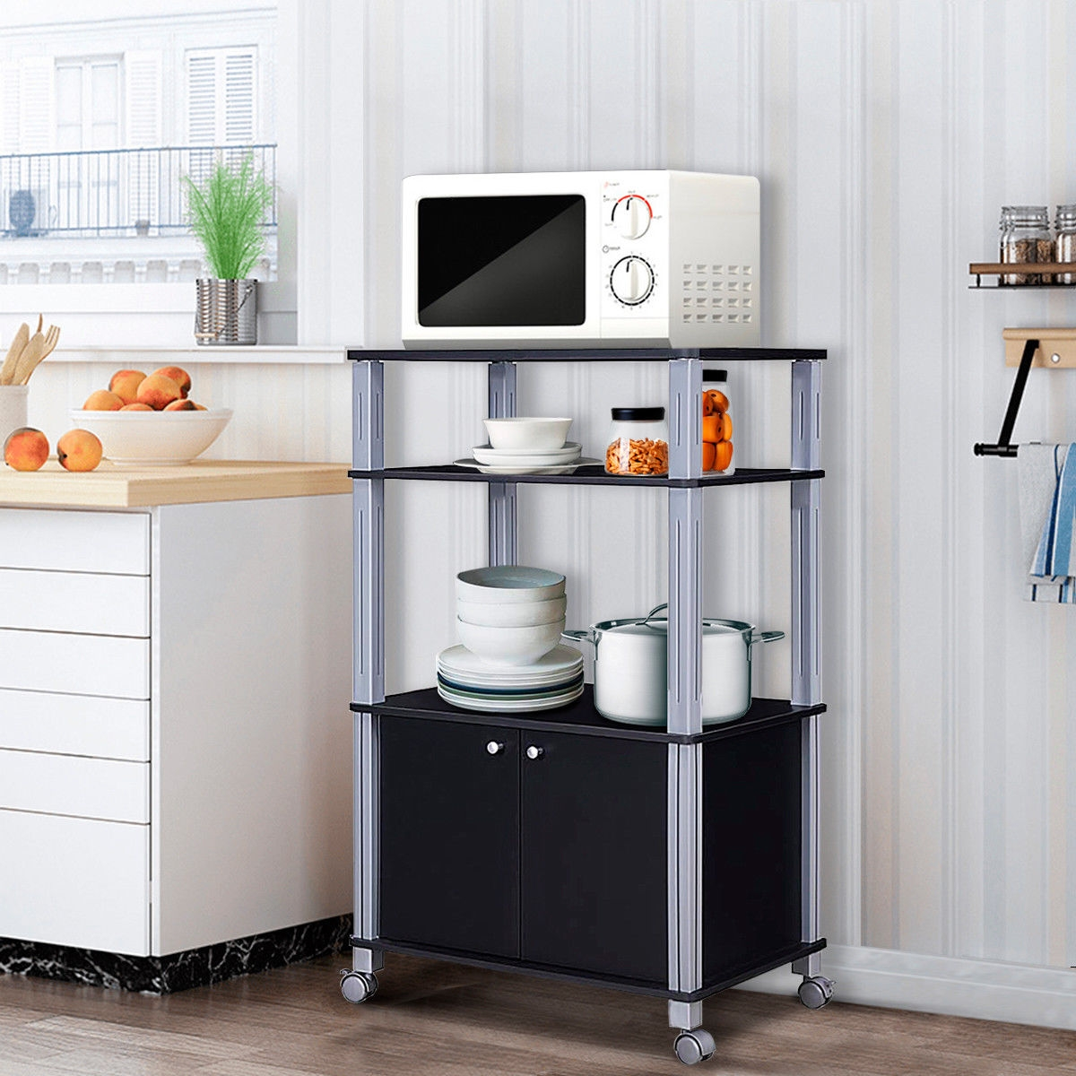 Bakers Rack Microwave Stand Rolling Storage Cart
