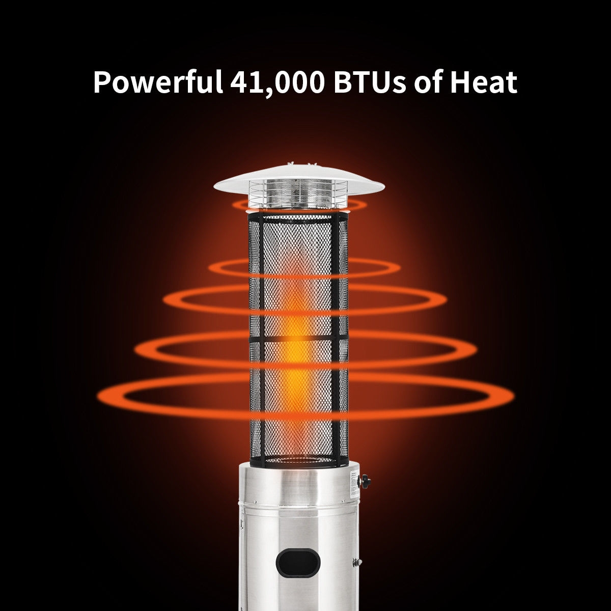 41000 BTU Stainless Steel Round Glass Tube Patio Heaters