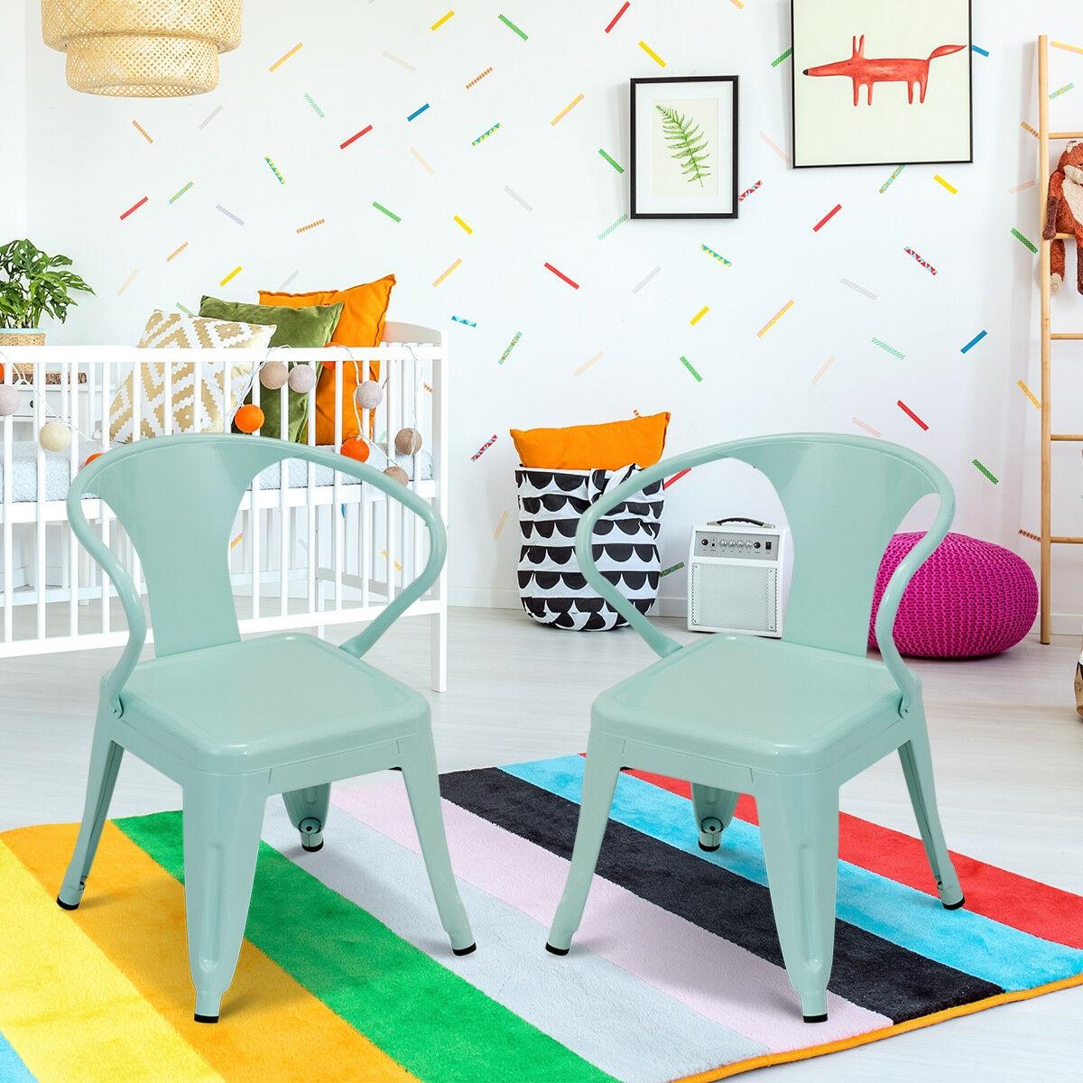 Set of 2 Kids Tolix Chair Steel Armchair Stackable Indoor Outdoor Furniture Pink