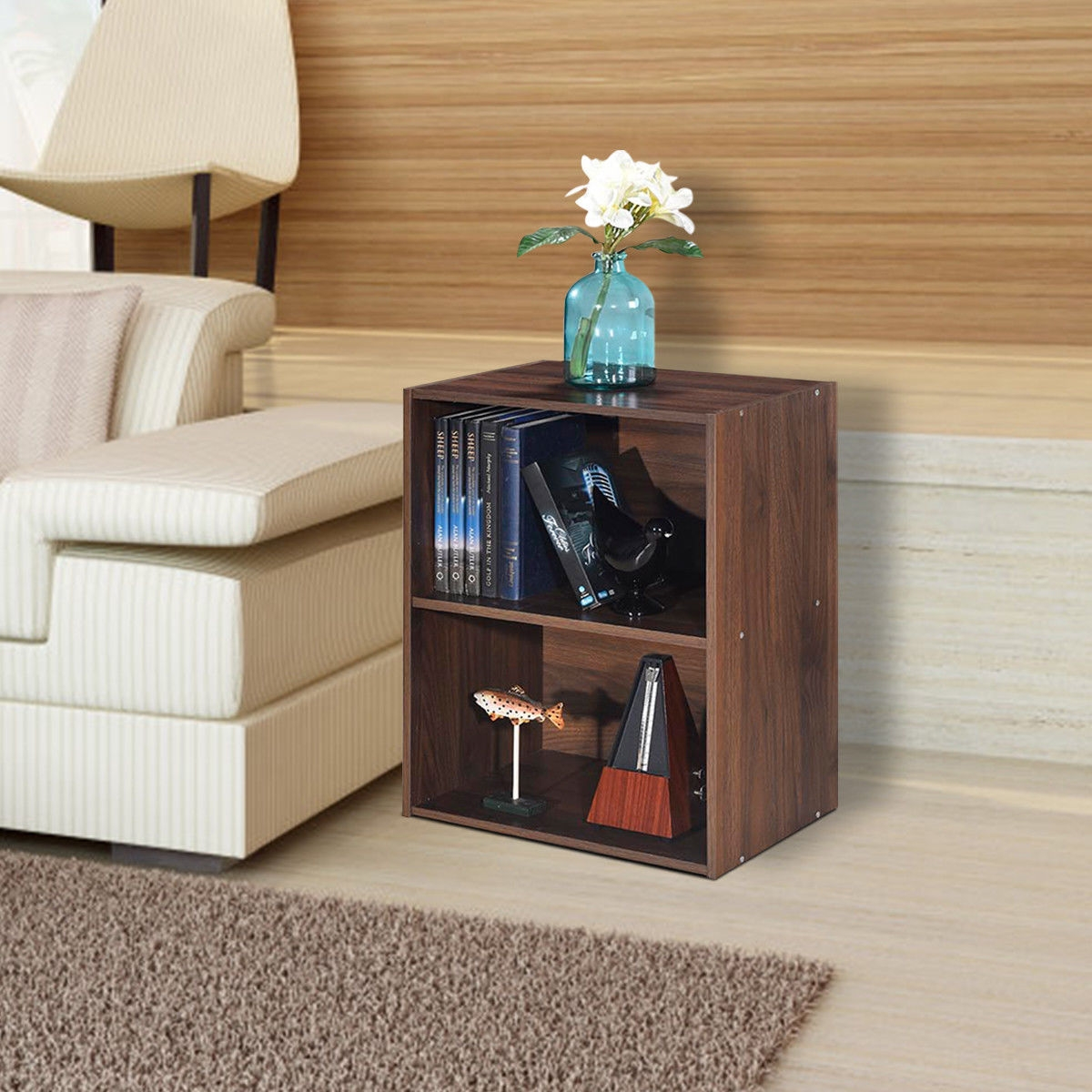 2 Tier Open Night Stand End Table Sofa Side Storage Furniture