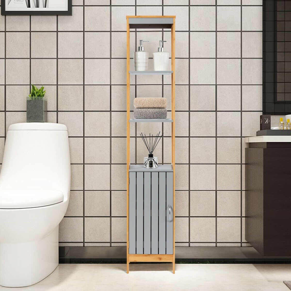Bathroom Floor Cabinet Bamboo 5-Tier Concise Freestanding Storage Shelf