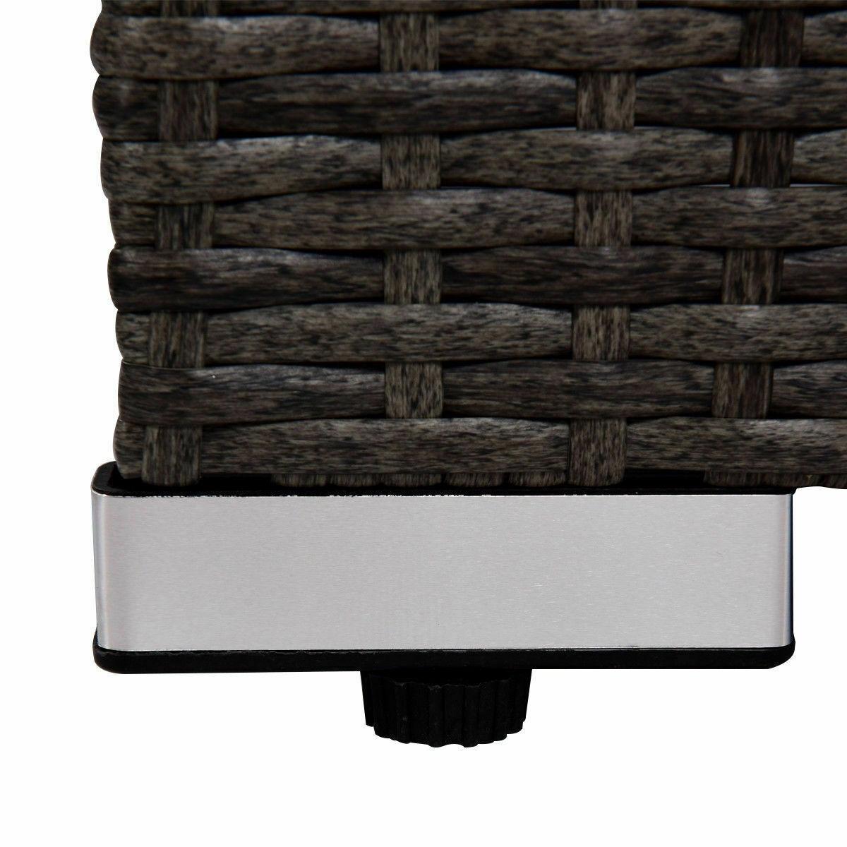 Rattan Wicker Patio Sofa Set with Black Cushion