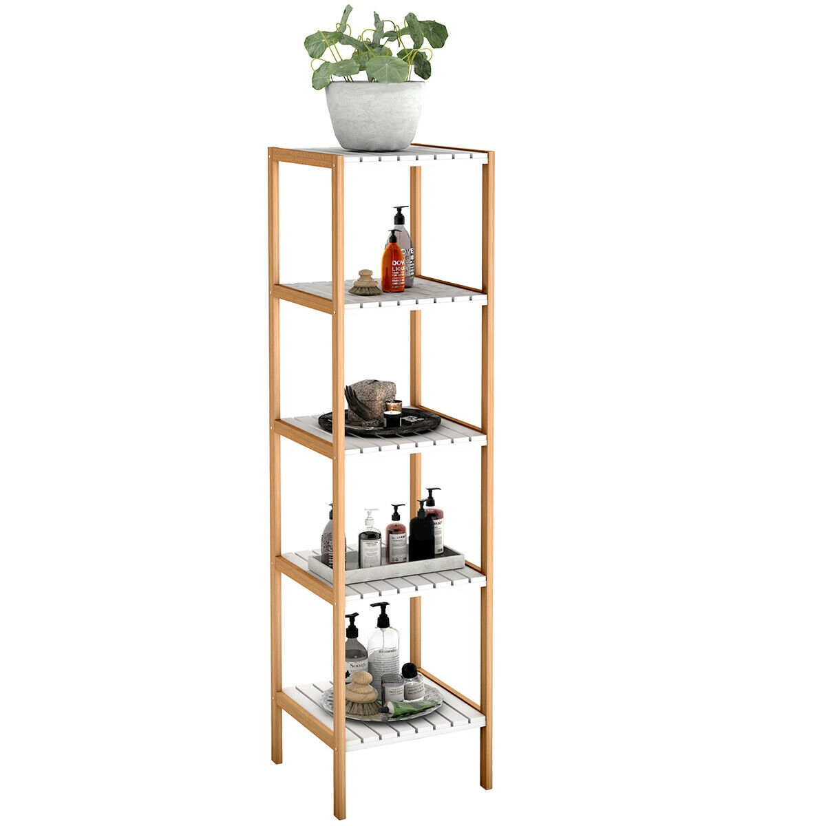5-Tier Bamboo Utility Shelves Domestic Storage Freestanding Units Shelf