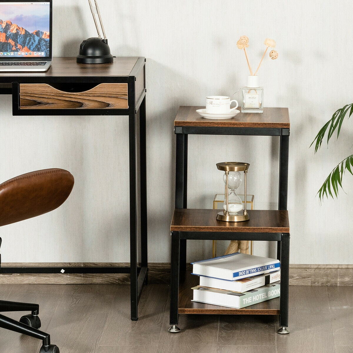 3-Tier Living Room Side Table with Storage Shelf