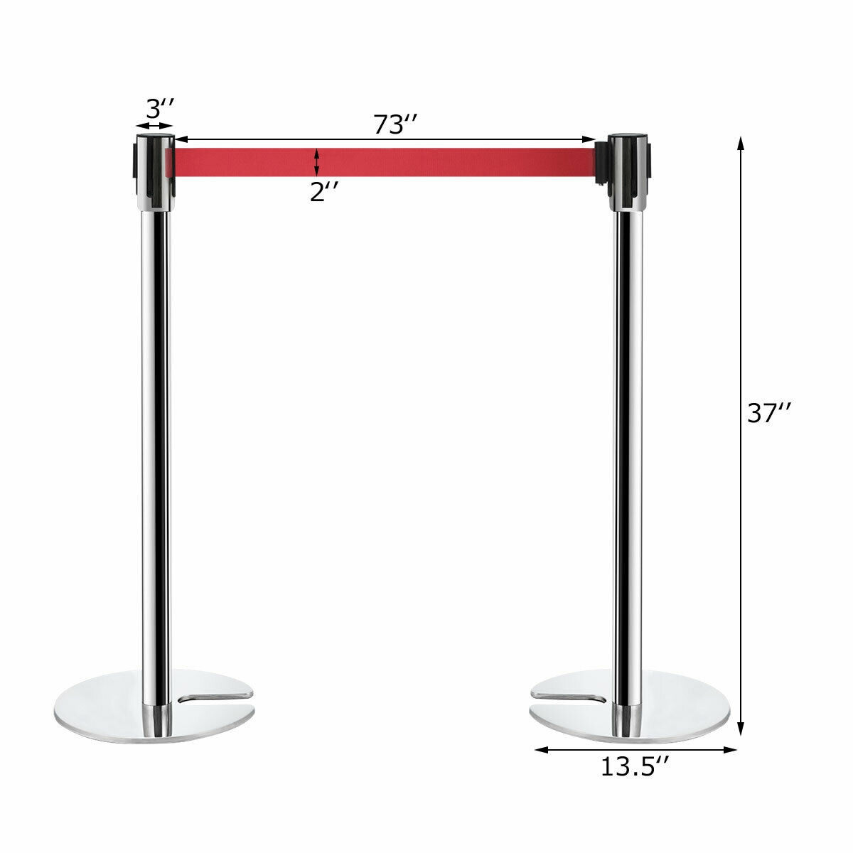 6 pcs Silver Stanchion Posts Retractable Belt Crowd Control Barrier