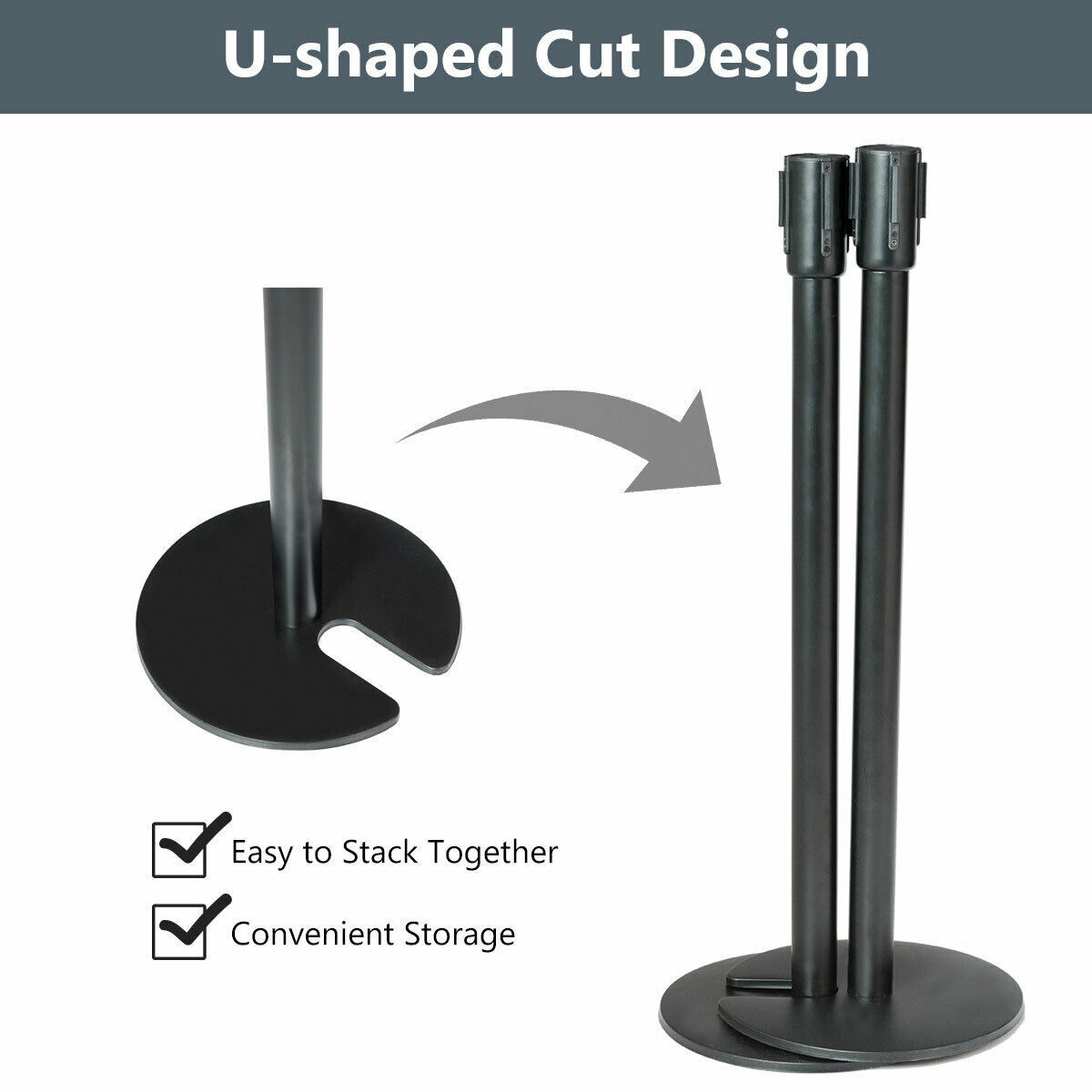 6 pcs Black Stanchion Posts Crowd Control Barrier