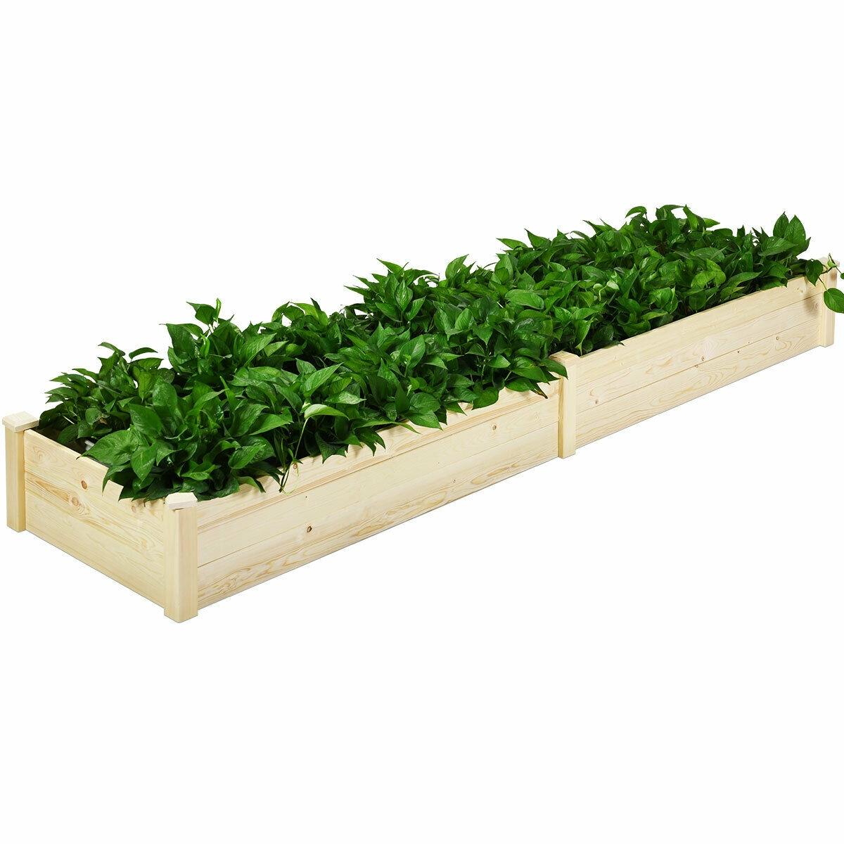 Raised Flowers Vegetables Garden Wooden Planter Box