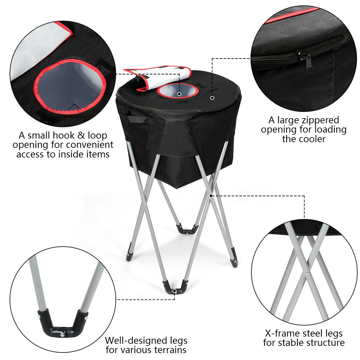 Portable Insulated Tub Party Picnic Cooler with Folding Stand
