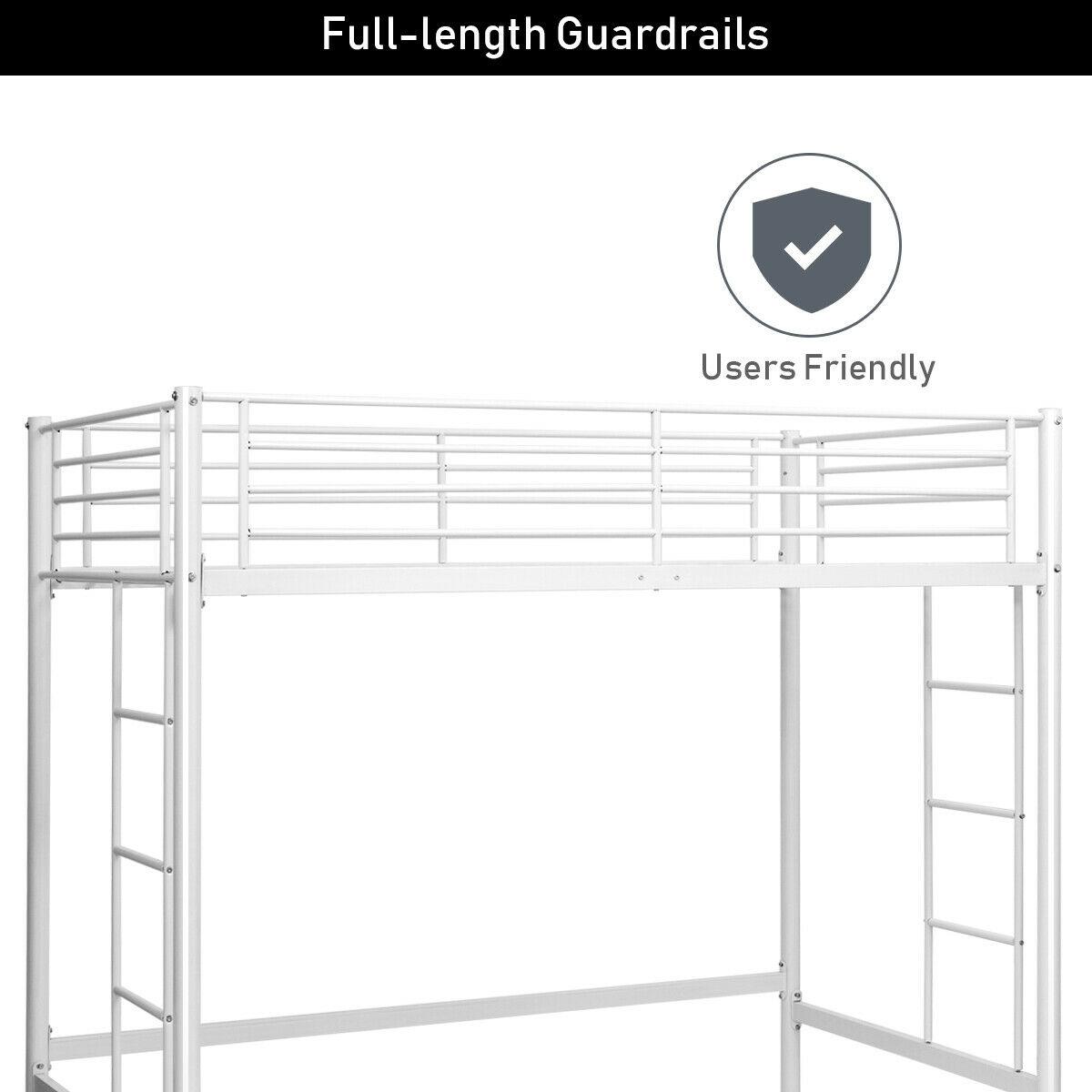 Twin Loft Bed Metal Bunk Ladder Beds for Bedroom Dorm