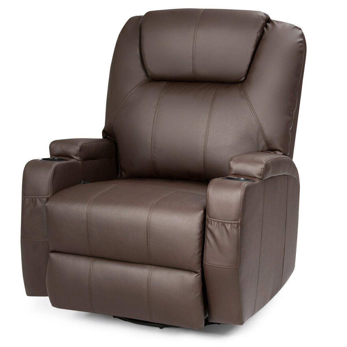 8 Heated Swivel Point Massage Recliner Chair