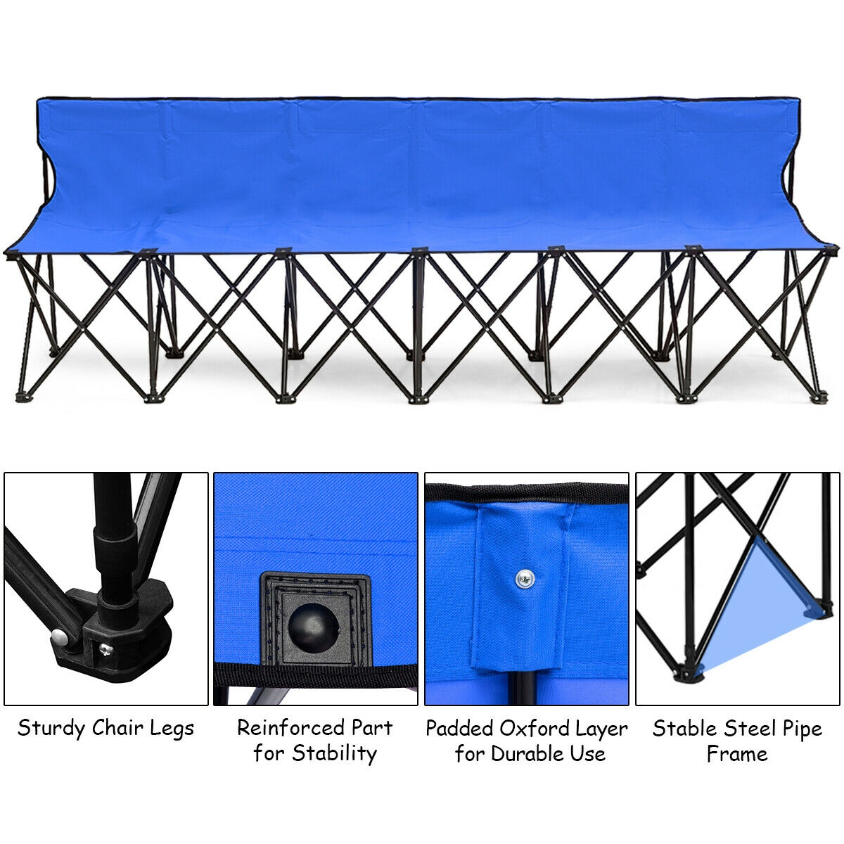 Portable Folding 6 Seats Chair Sideline Sports Bench