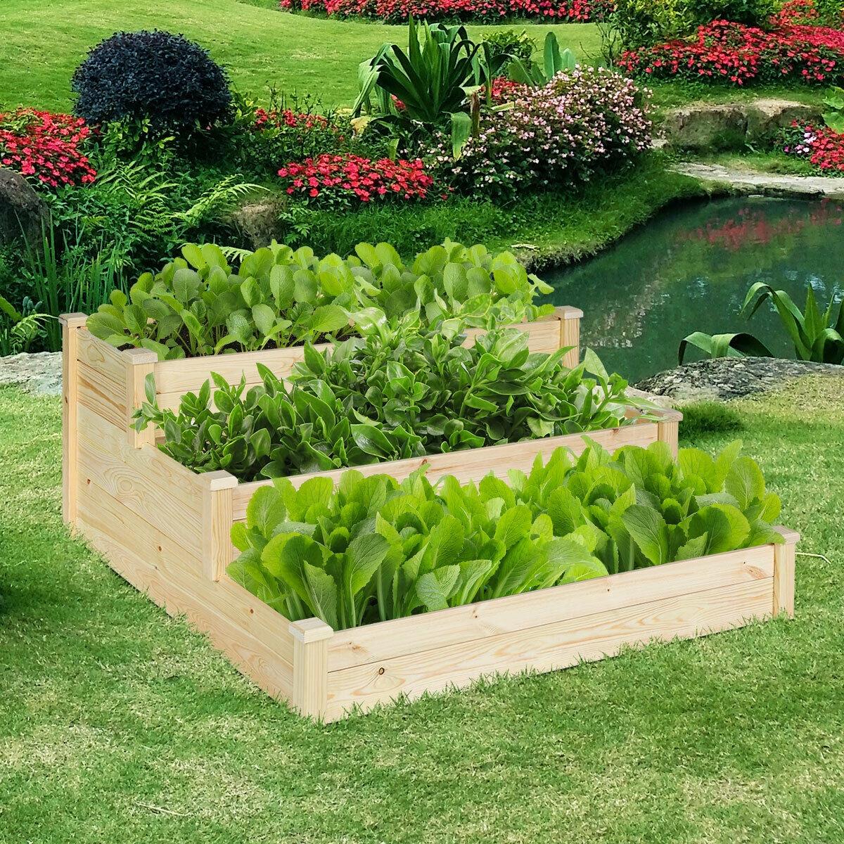 3 Tier Wooden Raised Garden Flower Vegetables Bed