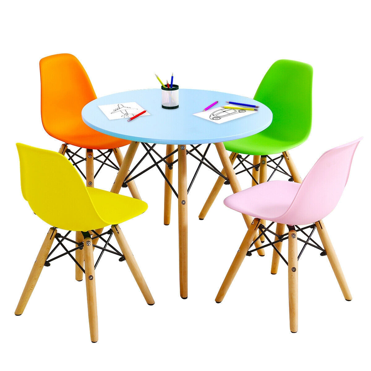 5 Piece Kids Colorful Set with 4 Armless Chairs