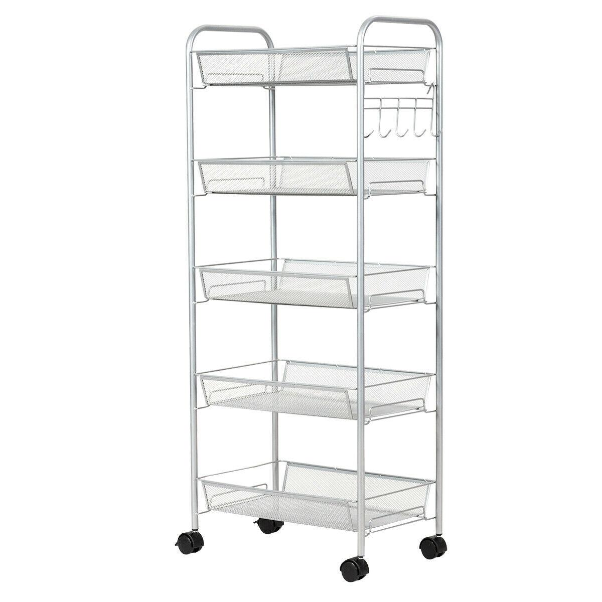 5 Tier Mesh Rolling File Utility Cart Storage Basket