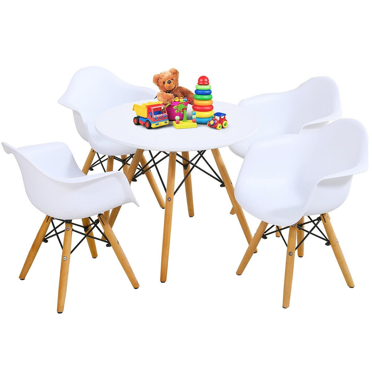 5 Piece Kids Modern Round Table Chair Set