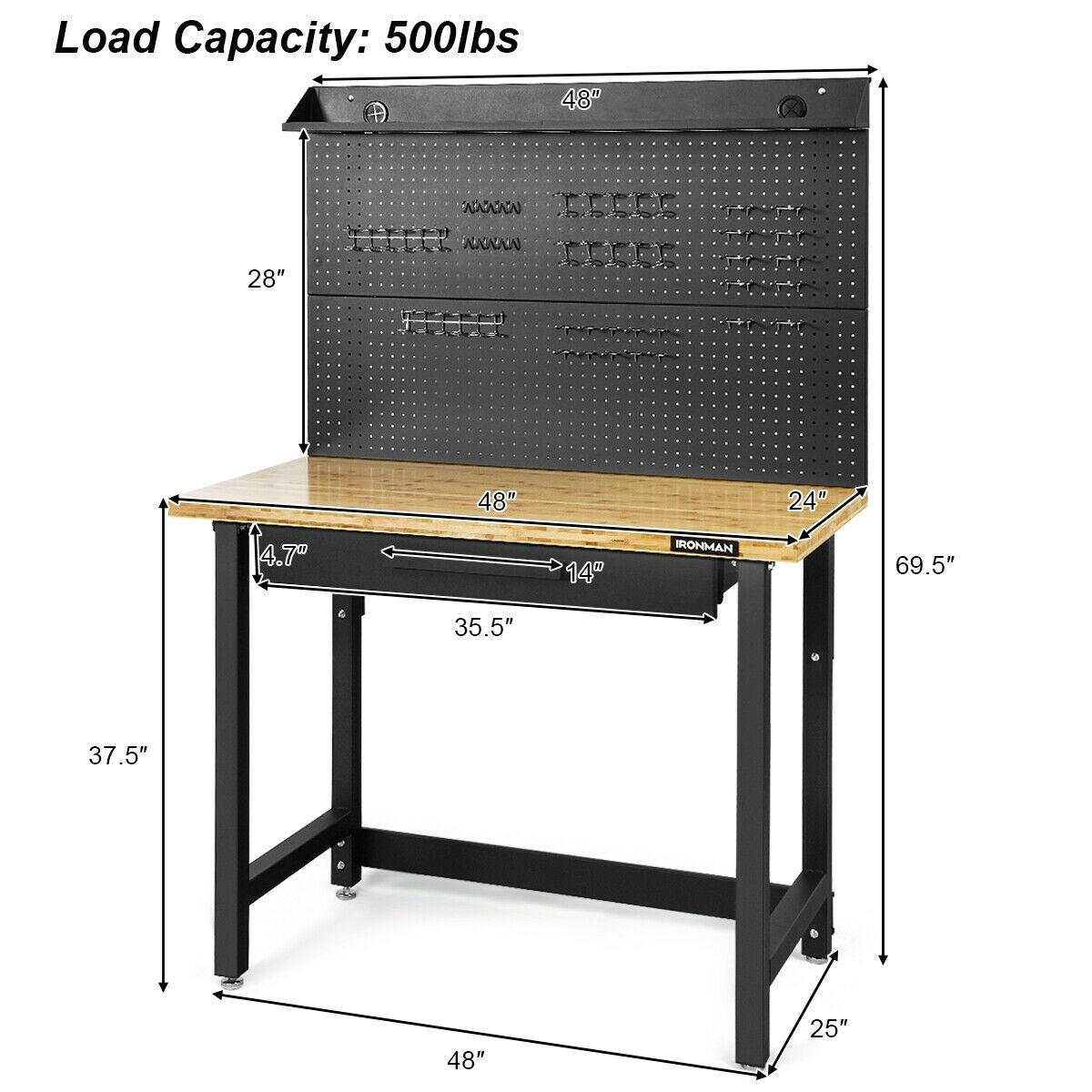 48 Inch Workcenter Bamboo Top Garage Workbench
