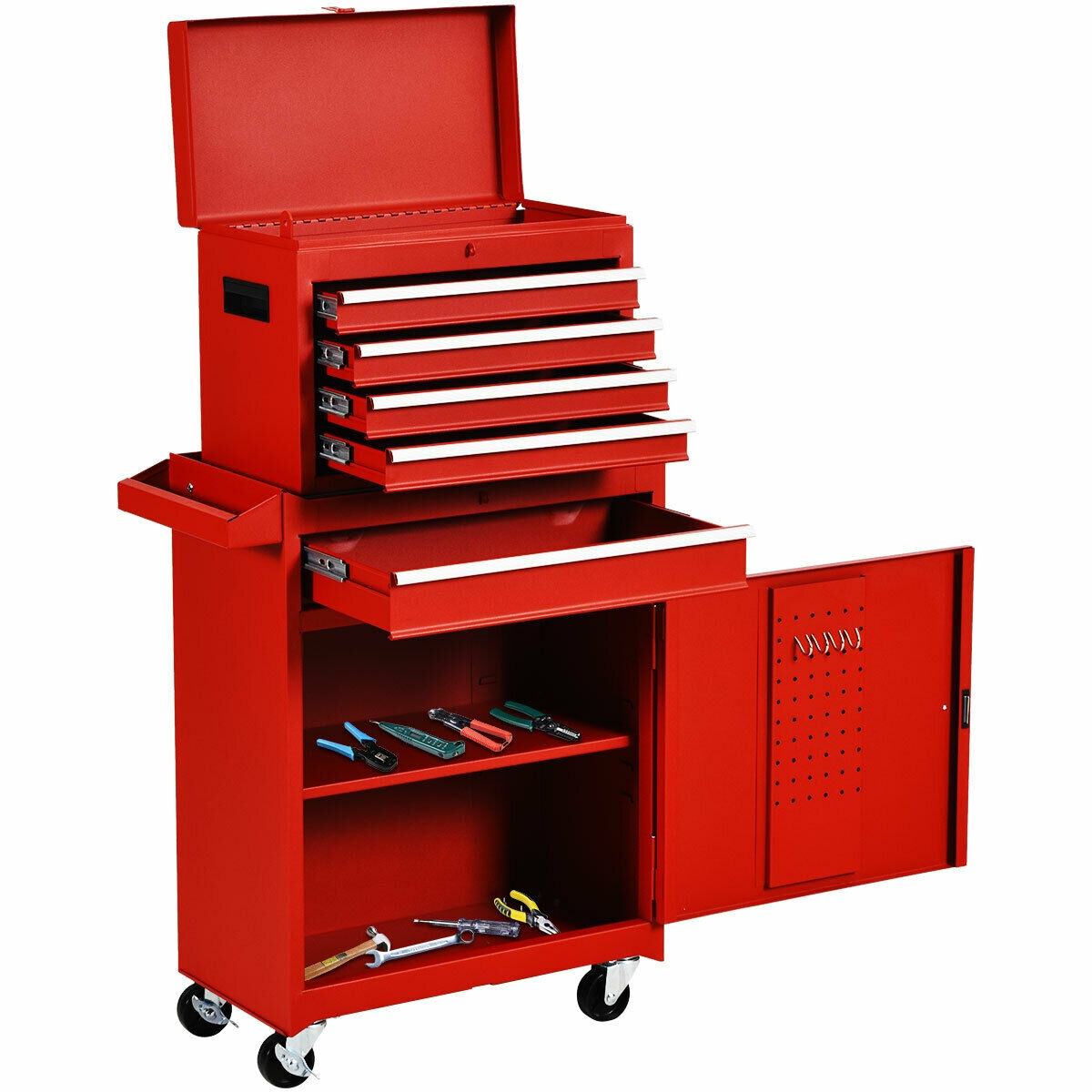 2 in 1 Tool Chest & Cabinet with 5 Sliding Drawers