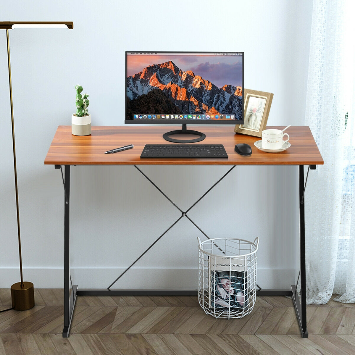 Metal Frame Computer Desk Simple Study Writing Desk